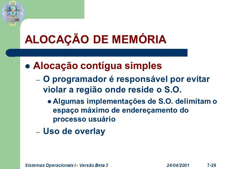 24/04/2001Sistemas Operacionais I - Versão Beta 37-28 ALOCAÇÃO DE MEMÓRIA Alocação contígua simples – O programador é responsável por evitar violar a