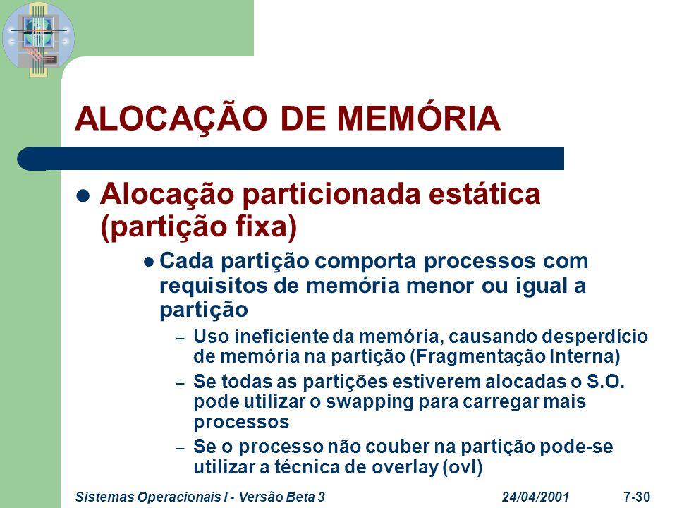 24/04/2001Sistemas Operacionais I - Versão Beta 37-31 ALOCAÇÃO DE MEMÓRIA Alocação particionada estática (partição fixa) Endereçamento absoluto – Processo só pode ser carregado na mesma região de memória – Endereçamento virtual Processo pode ser carregado em qualquer região de memória Registrador de relocação