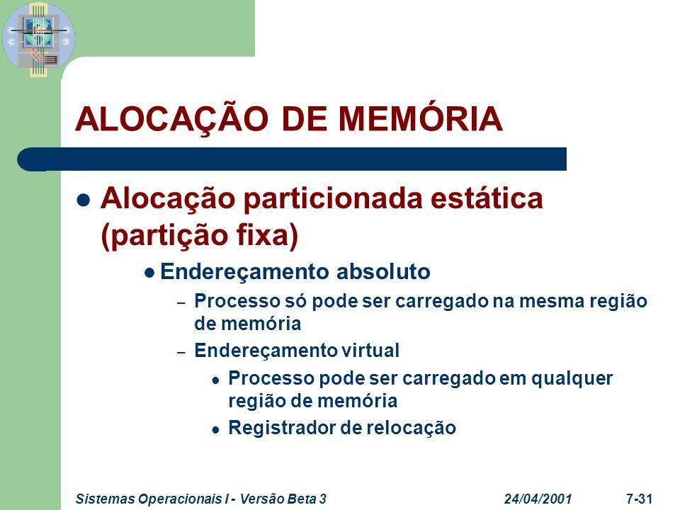 24/04/2001Sistemas Operacionais I - Versão Beta 37-31 ALOCAÇÃO DE MEMÓRIA Alocação particionada estática (partição fixa) Endereçamento absoluto – Proc