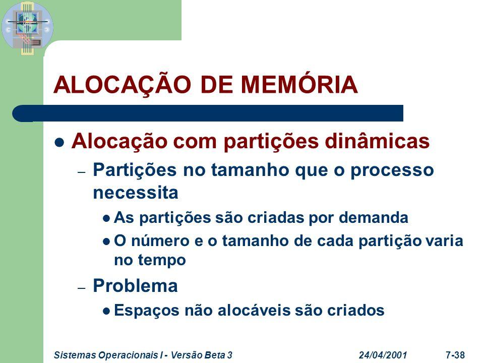 24/04/2001Sistemas Operacionais I - Versão Beta 37-38 ALOCAÇÃO DE MEMÓRIA Alocação com partições dinâmicas – Partições no tamanho que o processo neces