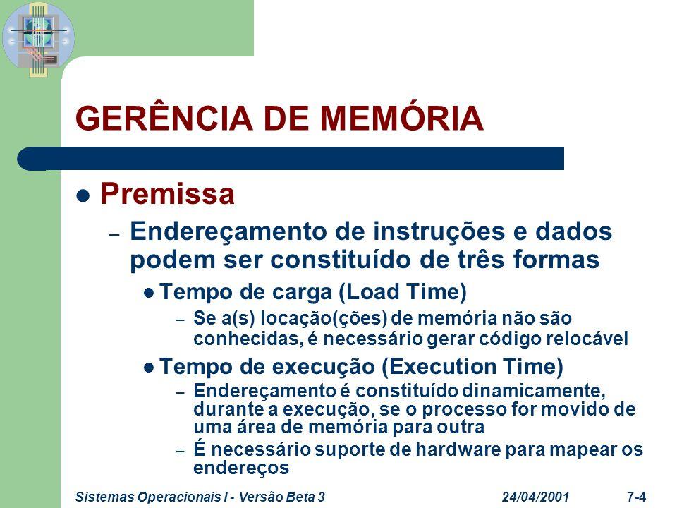 24/04/2001Sistemas Operacionais I - Versão Beta 37-4 GERÊNCIA DE MEMÓRIA Premissa – Endereçamento de instruções e dados podem ser constituído de três