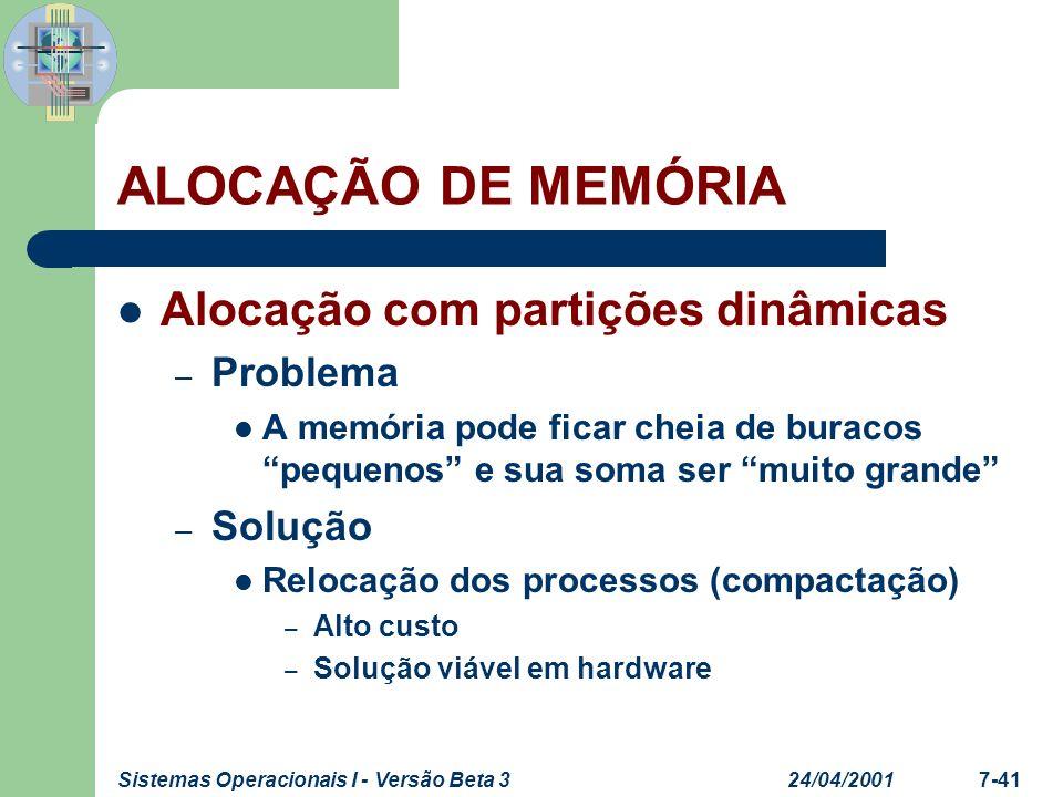 24/04/2001Sistemas Operacionais I - Versão Beta 37-42 ALOCAÇÃO DE MEMÓRIA Alocação com partições dinâmicas – Estratégias para escolha das partições Algoritmos de colocação O S.O.