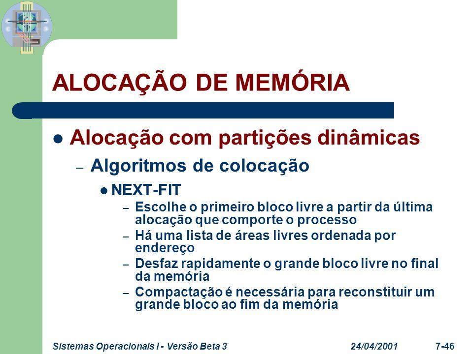 24/04/2001Sistemas Operacionais I - Versão Beta 37-46 ALOCAÇÃO DE MEMÓRIA Alocação com partições dinâmicas – Algoritmos de colocação NEXT-FIT – Escolh
