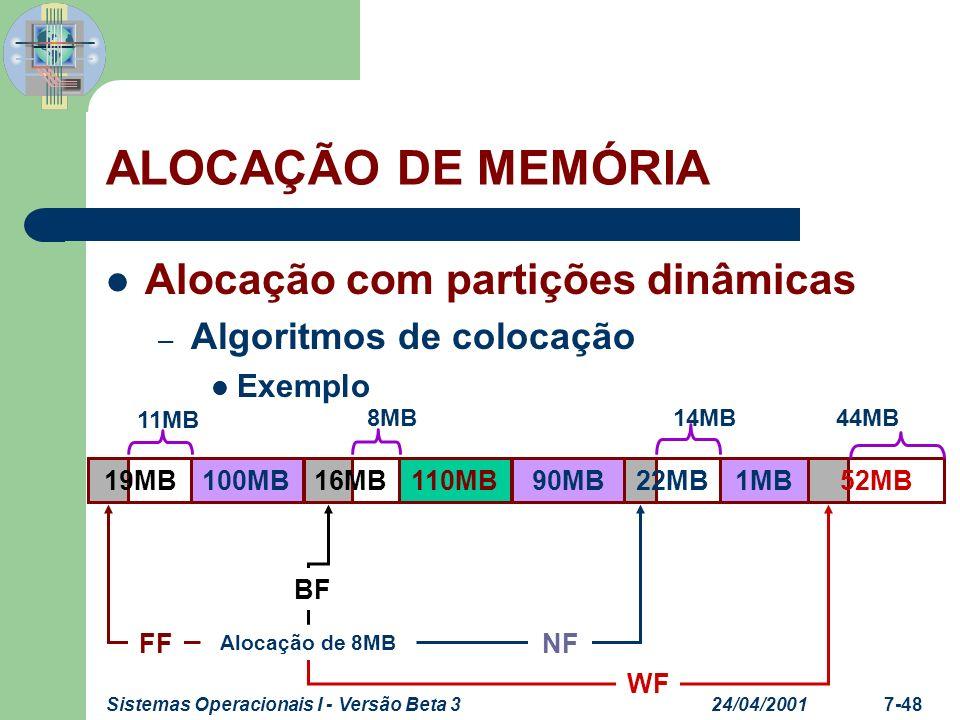 24/04/2001Sistemas Operacionais I - Versão Beta 37-49 Alocação com partições dinâmicas – Algoritmos de colocação Exemplo – Suponha a alocação de memória abaixo em uma arquitetura SMP, 8 processadores, com todos os processos RUNNING.
