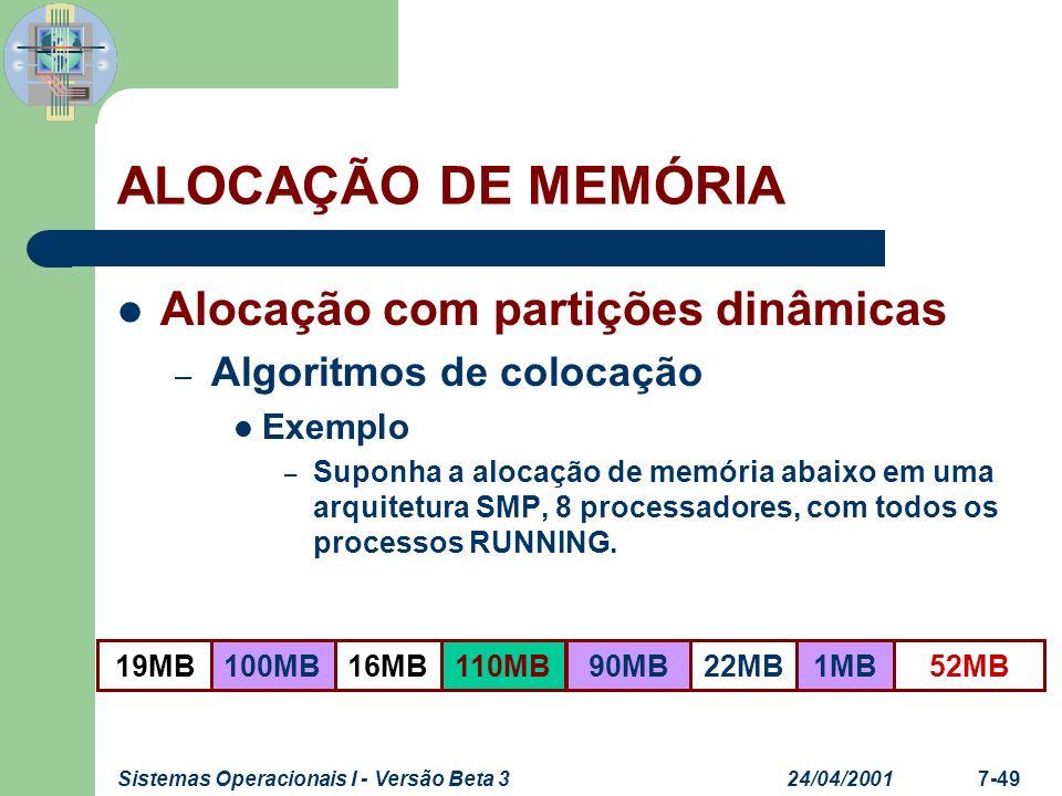 24/04/2001Sistemas Operacionais I - Versão Beta 37-49 Alocação com partições dinâmicas – Algoritmos de colocação Exemplo – Suponha a alocação de memór
