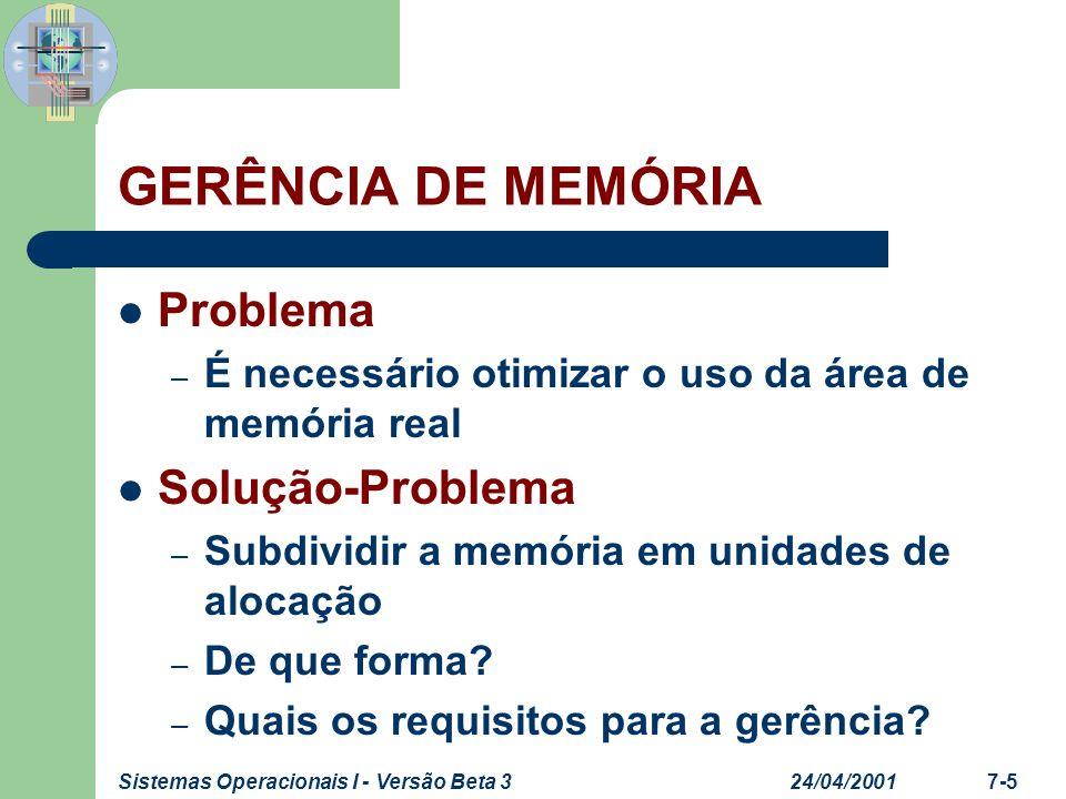 24/04/2001Sistemas Operacionais I - Versão Beta 37-5 GERÊNCIA DE MEMÓRIA Problema – É necessário otimizar o uso da área de memória real Solução-Proble