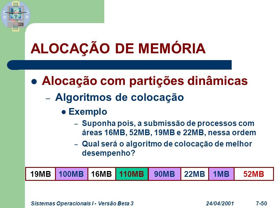 24/04/2001Sistemas Operacionais I - Versão Beta 37-51 Alocação com partições dinâmicas – Algoritmos de colocação Exemplo – Usando o First-Fit ALOCAÇÃO DE MEMÓRIA 52MB19MB16MB100MB110MB90MB22MB1MB 16MB19MB52MB22MB