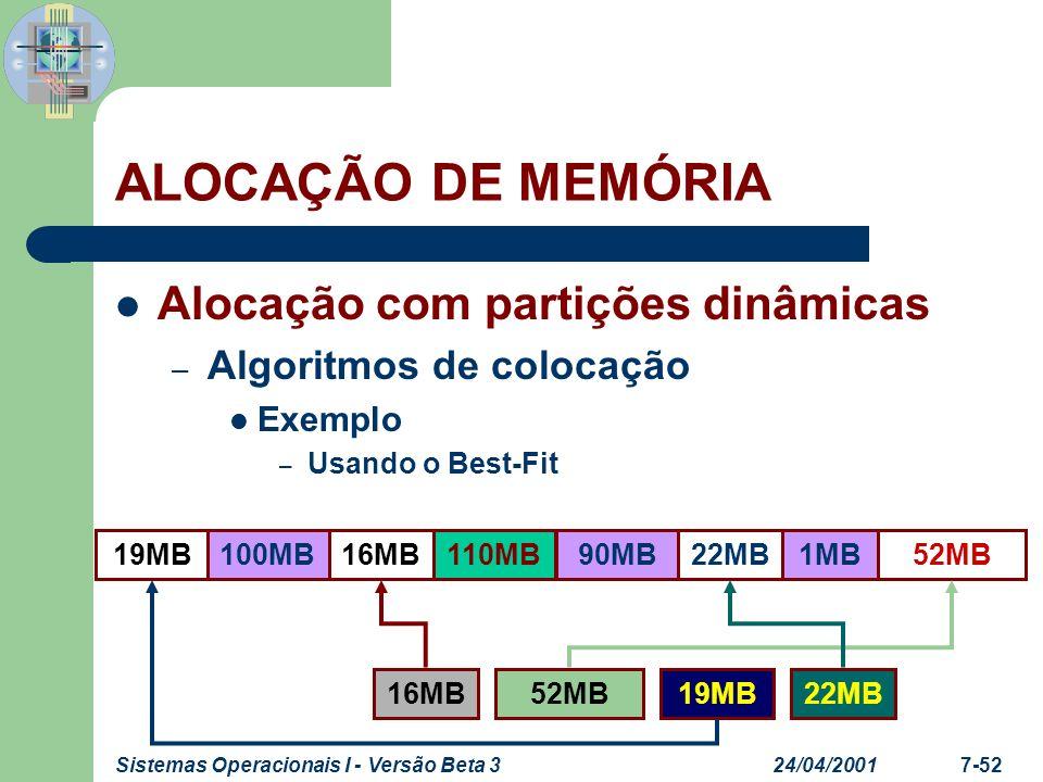 24/04/2001Sistemas Operacionais I - Versão Beta 37-53 Alocação com partições dinâmicas – Algoritmos de colocação Exemplo – Usando o Next-Fit ALOCAÇÃO DE MEMÓRIA 52MB19MB16MB100MB110MB90MB22MB1MB 16MB19MB52MB22MB