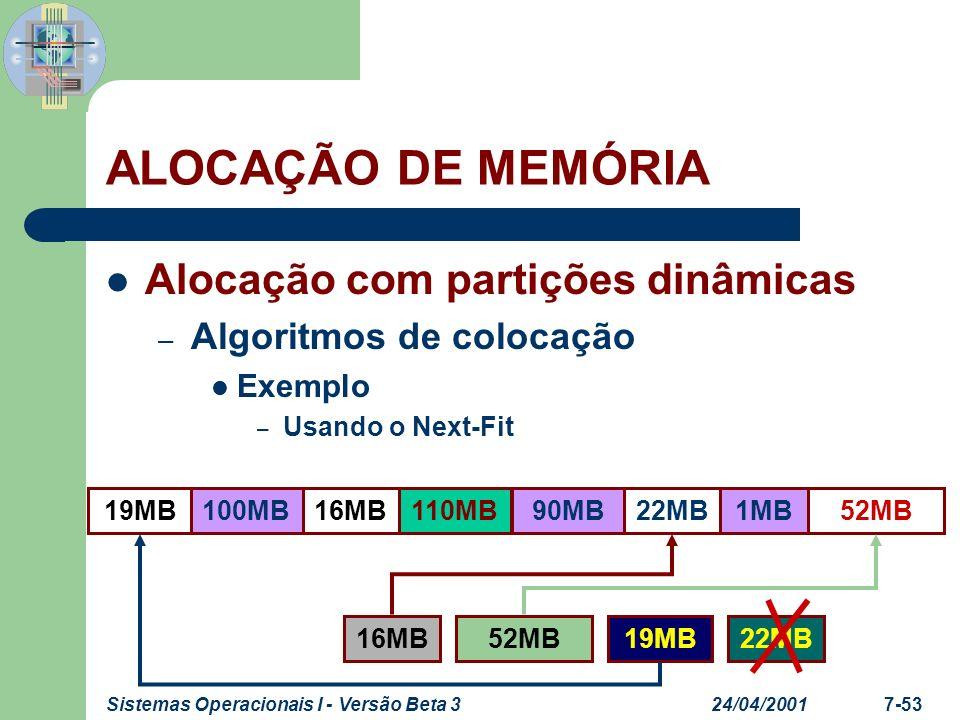 24/04/2001Sistemas Operacionais I - Versão Beta 37-54 ALOCAÇÃO DE MEMÓRIA Alocação com partições dinâmicas – Algoritmos de colocação Exemplo – Usando o Worst-Fit 52MB19MB16MB100MB110MB90MB22MB1MB 16MB19MB52MB22MB
