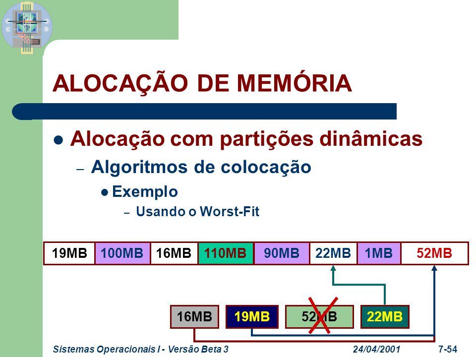 24/04/2001Sistemas Operacionais I - Versão Beta 37-55 PAGINAÇÃO Particiona a memória – Em blocos pequenos de igual tamanho Frames ou molduras Processo – É dividido em blocos pequenos de tamanho igual aos blocos de memória Páginas