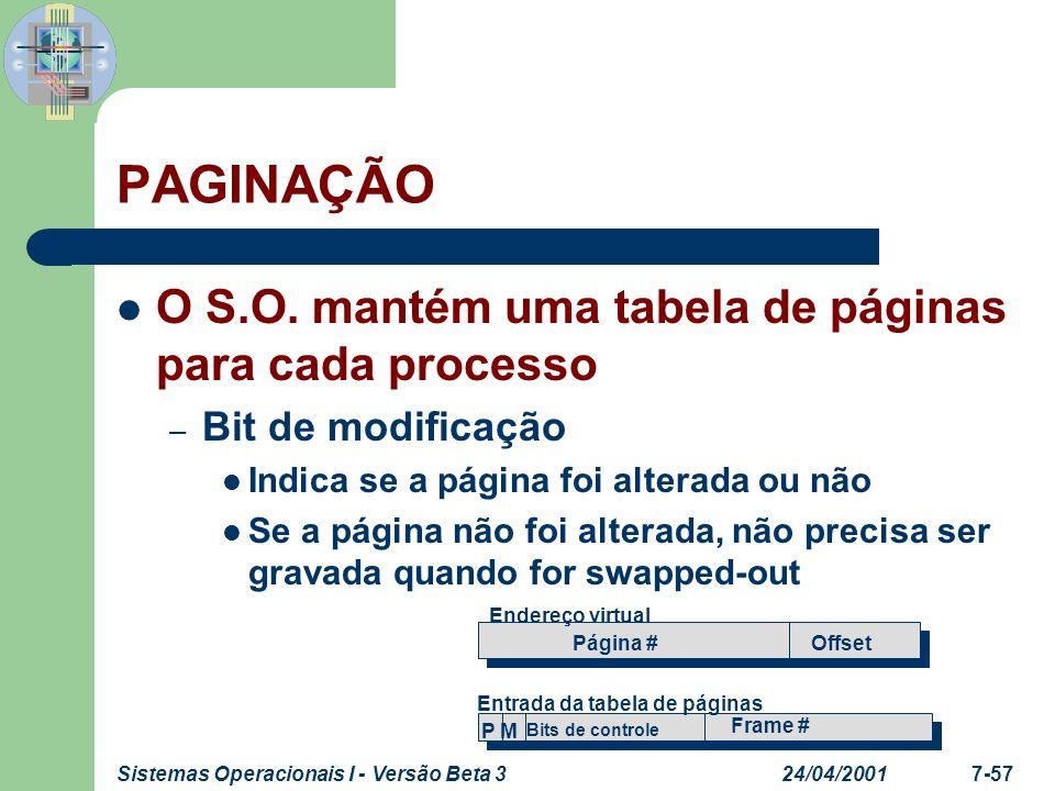 24/04/2001Sistemas Operacionais I - Versão Beta 37-57 PAGINAÇÃO O S.O. mantém uma tabela de páginas para cada processo – Bit de modificação Indica se