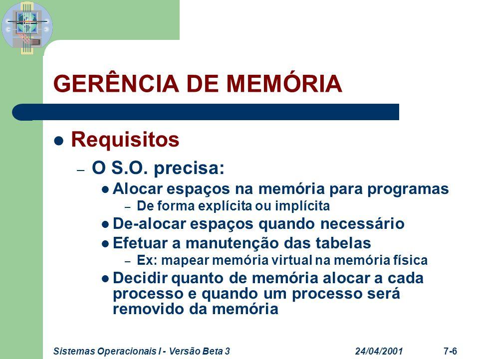 24/04/2001Sistemas Operacionais I - Versão Beta 37-6 GERÊNCIA DE MEMÓRIA Requisitos – O S.O. precisa: Alocar espaços na memória para programas – De fo