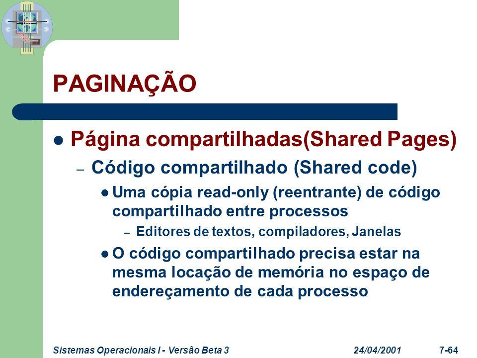 24/04/2001Sistemas Operacionais I - Versão Beta 37-65 PAGINAÇÃO Página compartilhadas(Shared Pages) – Código e dados privados Cada processo pega uma cópia de código e dados As páginas de código privado podem estar em qualquer locação do espaço de endereçamento dos processos