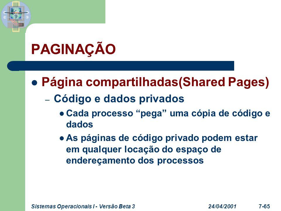 24/04/2001Sistemas Operacionais I - Versão Beta 37-66 PAGINAÇÃO Página compartilhadas(Shared Pages) C1C1 C2C2 C3C3 D p1 P1P1 3 4 6 1 C1C1 C2C2 C3C3 D p2 P1P1 3 4 6 5 D p1 C1C1 C2C2 D p2 C3C3 Tabela de páginas P 1 Memória Real