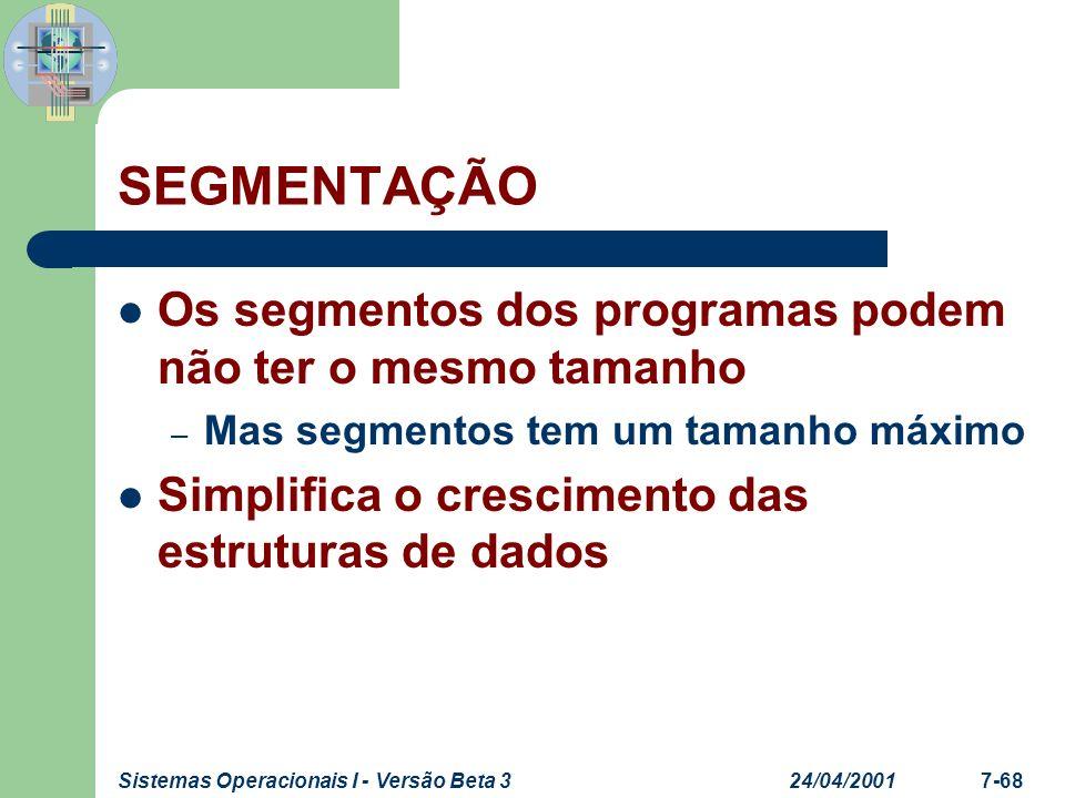 24/04/2001Sistemas Operacionais I - Versão Beta 37-69 SEGMENTAÇÃO Arquitetura – Endereço lógico consiste de Endereço virtual Registro da tabela de segmentos Segmento #Offset PM Bits de controle TamanhSegmento
