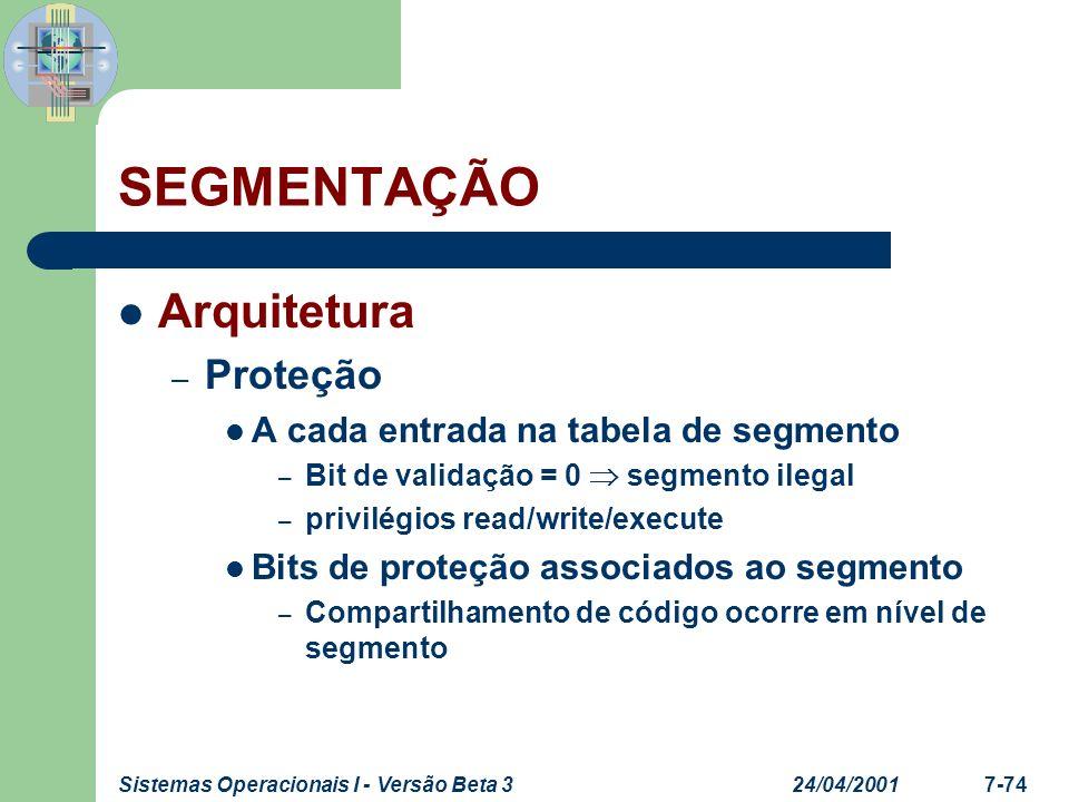 24/04/2001Sistemas Operacionais I - Versão Beta 37-74 SEGMENTAÇÃO Arquitetura – Proteção A cada entrada na tabela de segmento – Bit de validação = 0 s