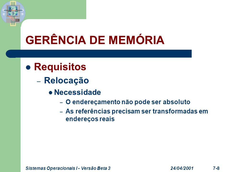 24/04/2001Sistemas Operacionais I - Versão Beta 37-9 GERÊNCIA DE MEMÓRIA Requisitos – Relocação Formas básicas de relocação – Em tempo de execução (Hardware) – Em tempo de compilação No boot do sistema esse método ainda é utilizado
