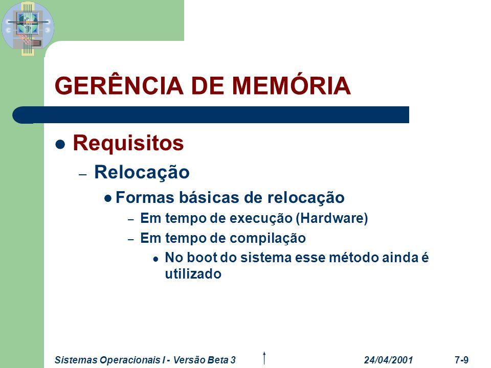 24/04/2001Sistemas Operacionais I - Versão Beta 37-10 GERÊNCIA DE MEMÓRIA Requisitos – Relocação Formas básicas de relocação – Em tempo de carga, pelo sistema operacional.