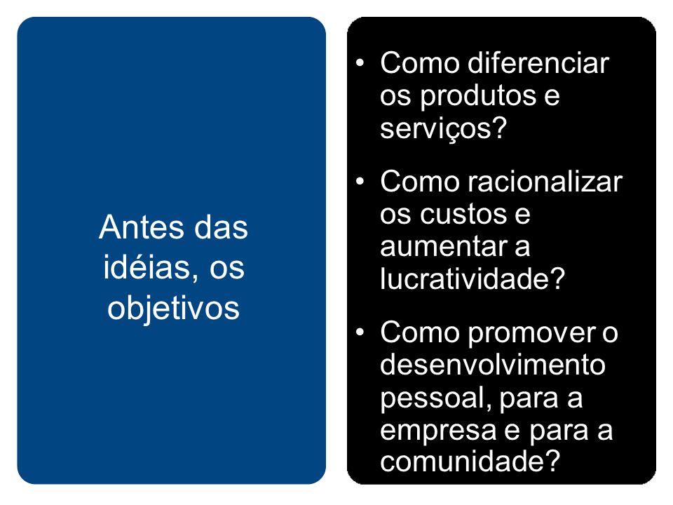 Como diferenciar os produtos e serviços? Como racionalizar os custos e aumentar a lucratividade? Como promover o desenvolvimento pessoal, para a empre
