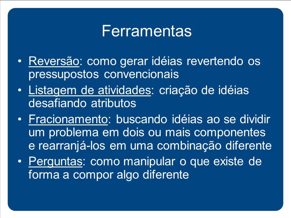 Reversão: como gerar idéias revertendo os pressupostos convencionais Listagem de atividades: criação de idéias desafiando atributos Fracionamento: bus