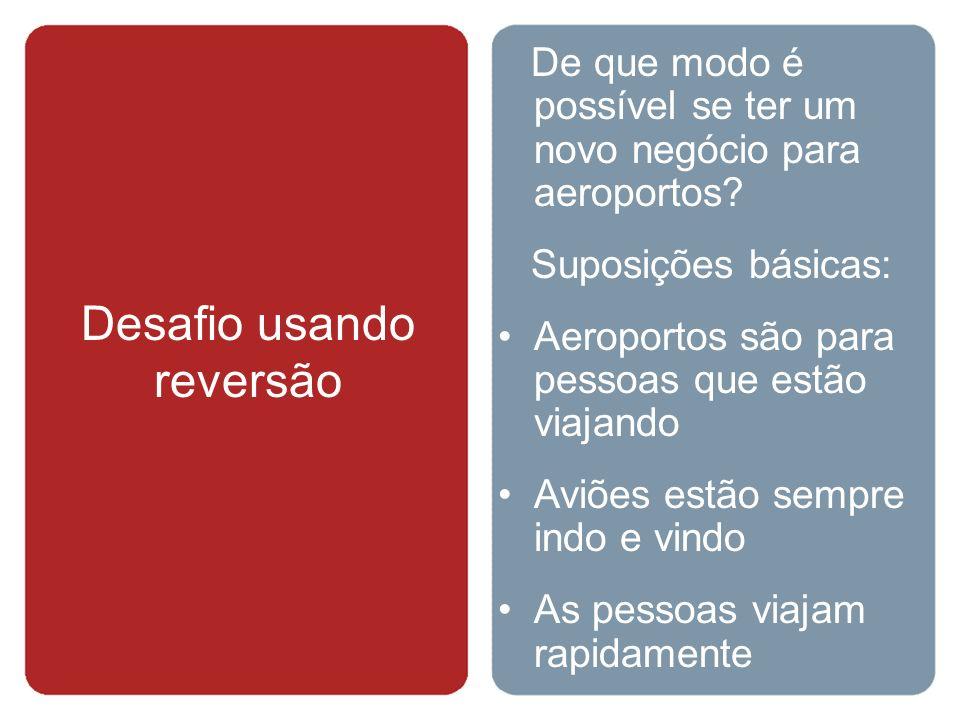Desafio usando reversão De que modo é possível se ter um novo negócio para aeroportos? Suposições básicas: Aeroportos são para pessoas que estão viaja