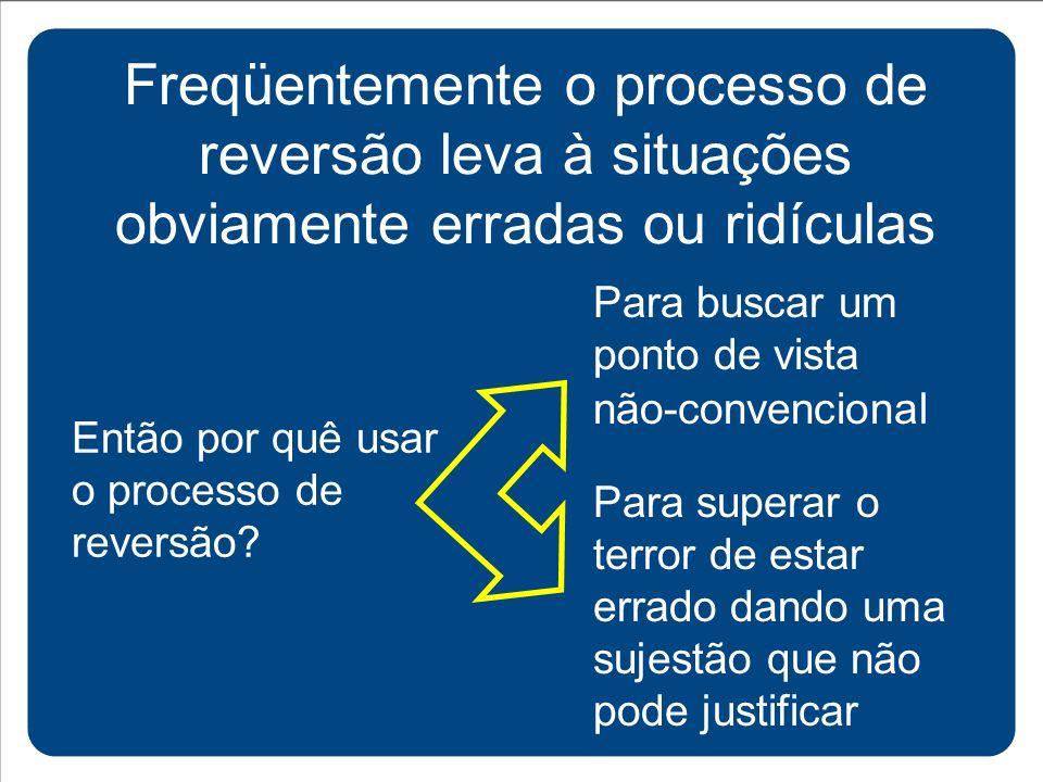 Freqüentemente o processo de reversão leva à situações obviamente erradas ou ridículas Então por quê usar o processo de reversão? Para buscar um ponto