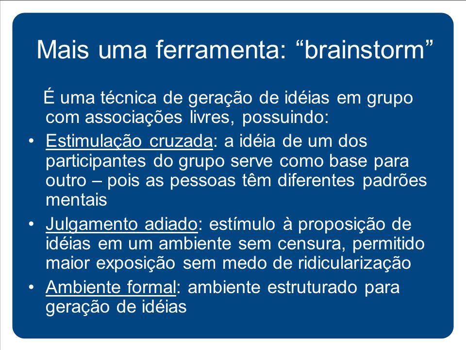 É uma técnica de geração de idéias em grupo com associações livres, possuindo: Estimulação cruzada: a idéia de um dos participantes do grupo serve com