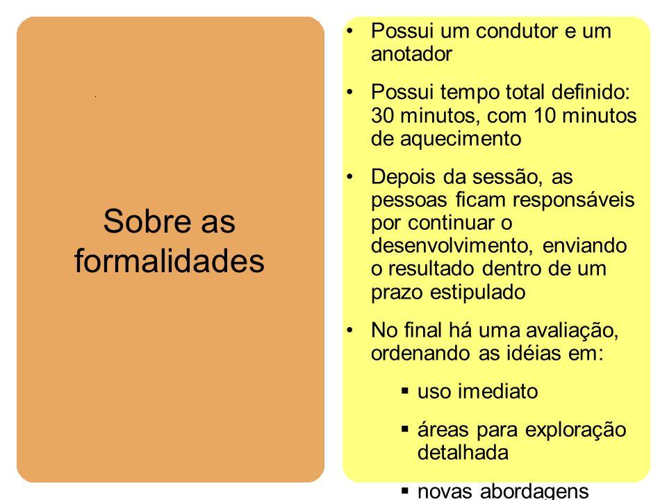 Sobre as formalidades Possui um condutor e um anotador Possui tempo total definido: 30 minutos, com 10 minutos de aquecimento Depois da sessão, as pes