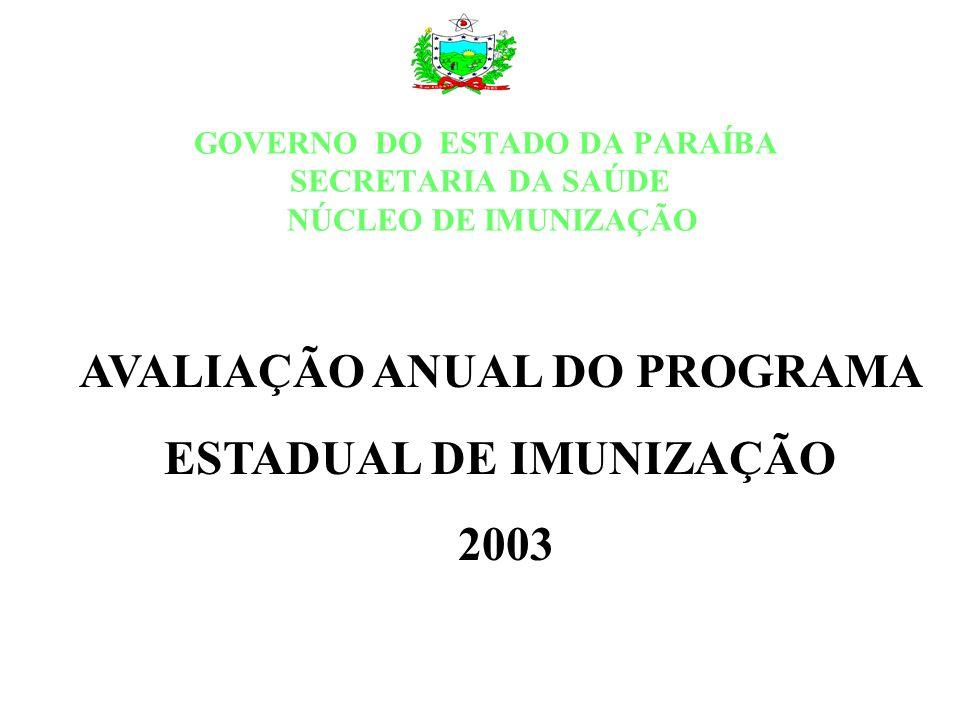 AVALIAÇÃO ANUAL DO PROGRAMA ESTADUAL DE IMUNIZAÇÃO 2003 GOVERNO DO ESTADO DA PARAÍBA SECRETARIA DA SAÚDE NÚCLEO DE IMUNIZAÇÃO