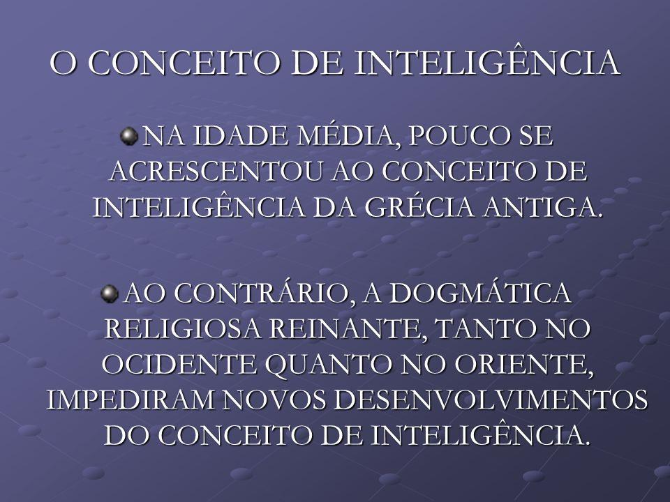O CONCEITO DE INTELIGÊNCIA NA IDADE MÉDIA, POUCO SE ACRESCENTOU AO CONCEITO DE INTELIGÊNCIA DA GRÉCIA ANTIGA. AO CONTRÁRIO, A DOGMÁTICA RELIGIOSA REIN