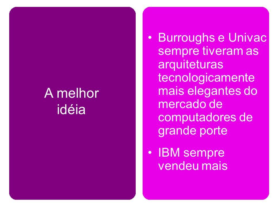 Burroughs e Univac sempre tiveram as arquiteturas tecnologicamente mais elegantes do mercado de computadores de grande porte IBM sempre vendeu mais A melhor idéia