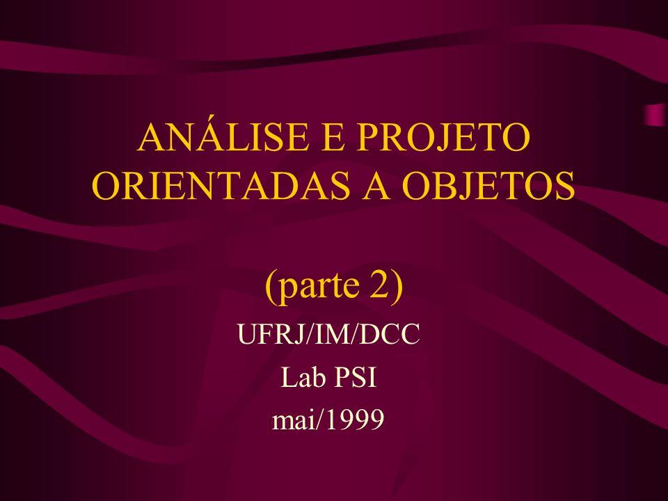 ANÁLISE E PROJETO ORIENTADAS A OBJETOS (parte 2) UFRJ/IM/DCC Lab PSI mai/1999