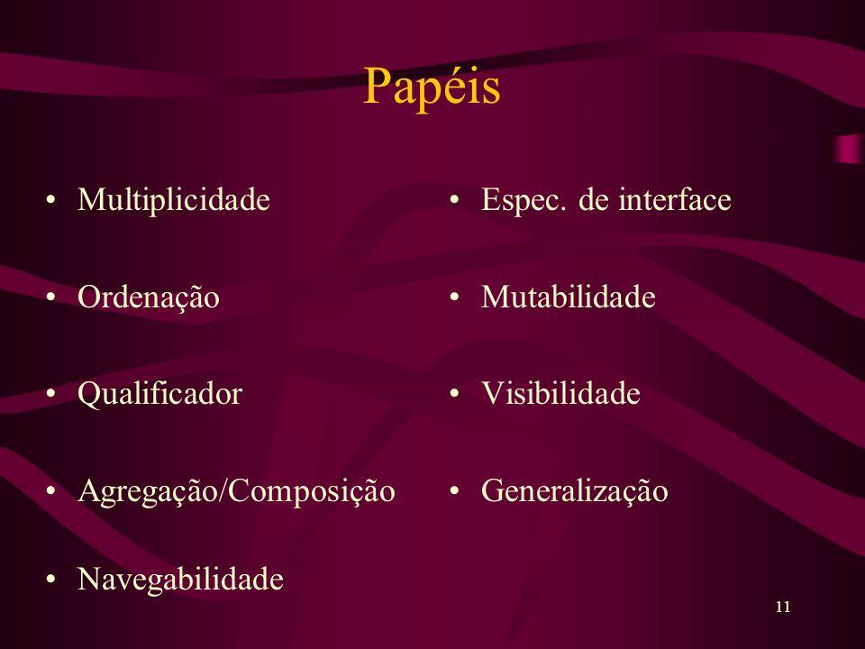 11 Papéis Multiplicidade Ordenação Qualificador Agregação/Composição Navegabilidade Espec.