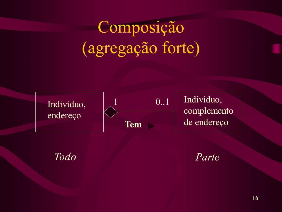 18 Composição (agregação forte) 1 0..1 Indivíduo, endereço Indivíduo, complemento de endereço Tem Todo Parte