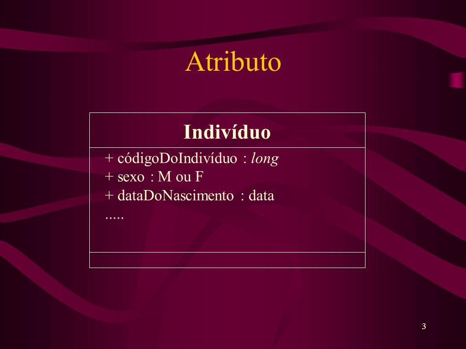3 Atributo Indivíduo + códigoDoIndivíduo : long + sexo : M ou F + dataDoNascimento : data.....