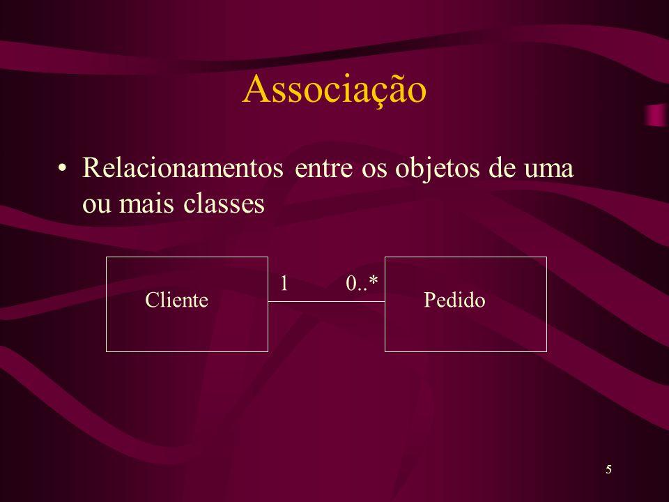 5 Associação Relacionamentos entre os objetos de uma ou mais classes 1 0..* ClientePedido