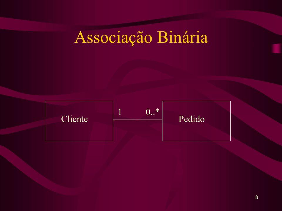 8 Associação Binária 1 0..* ClientePedido