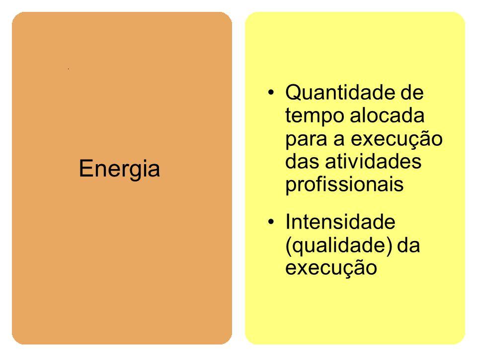 Quantidade de tempo alocada para a execução das atividades profissionais Intensidade (qualidade) da execução Energia