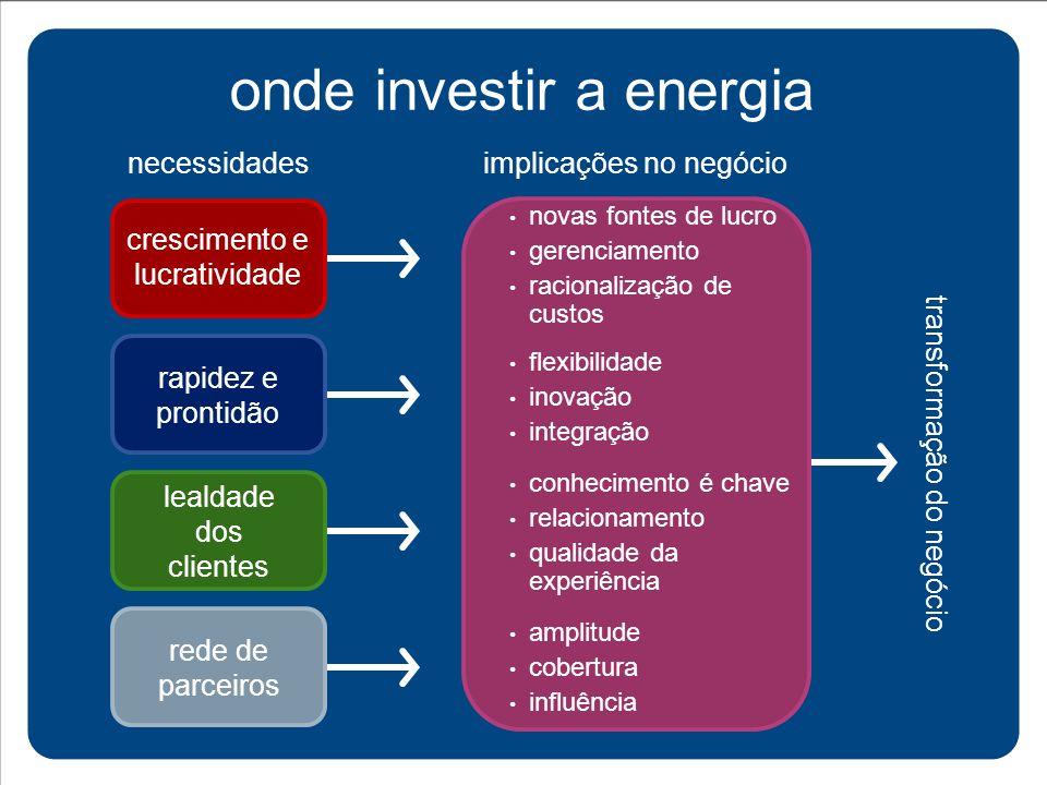 onde investir a energia novas fontes de lucro gerenciamento racionalização de custos flexibilidade inovação integração conhecimento é chave relacionam