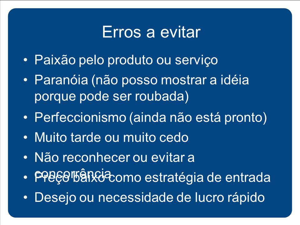 Paixão pelo produto ou serviço Erros a evitar Paranóia (não posso mostrar a idéia porque pode ser roubada) Perfeccionismo (ainda não está pronto) Muit