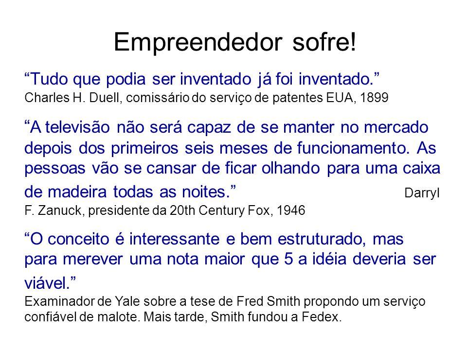 Empreendedor sofre! Tudo que podia ser inventado já foi inventado. Charles H. Duell, comissário do serviço de patentes EUA, 1899 A televisão não será