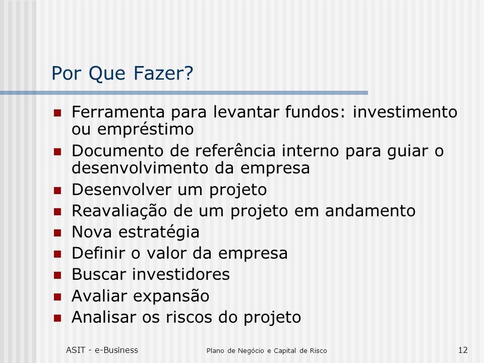 ASIT - e-Business Plano de Negócio e Capital de Risco 12 Por Que Fazer? Ferramenta para levantar fundos: investimento ou empréstimo Documento de refer