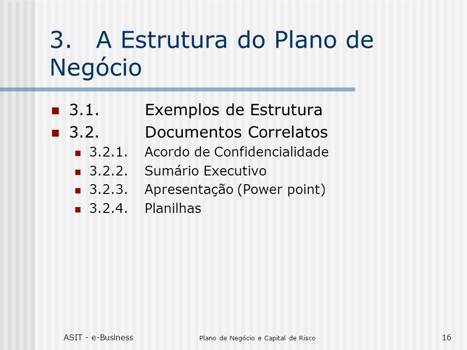 ASIT - e-Business Plano de Negócio e Capital de Risco 16 3.A Estrutura do Plano de Negócio 3.1.Exemplos de Estrutura 3.2.Documentos Correlatos 3.2.1.A