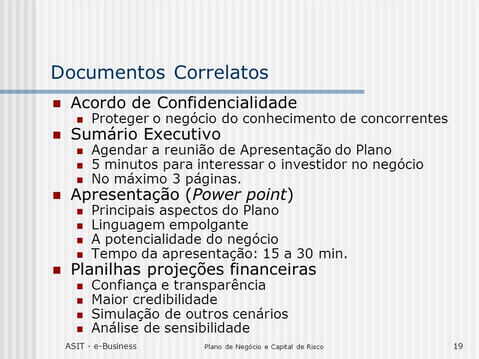 ASIT - e-Business Plano de Negócio e Capital de Risco 19 Documentos Correlatos Acordo de Confidencialidade Proteger o negócio do conhecimento de conco