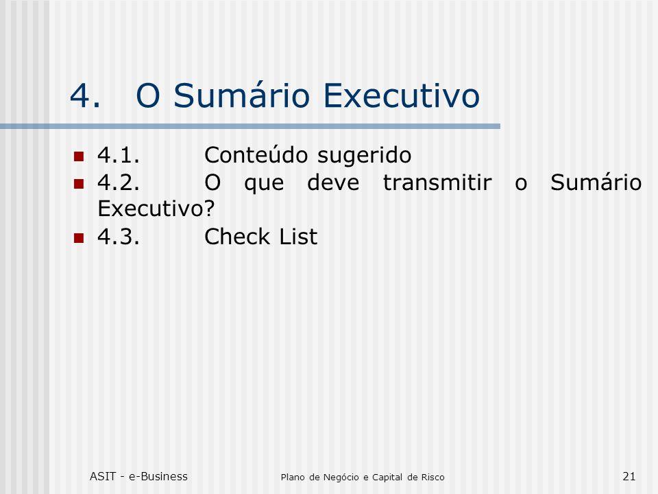 ASIT - e-Business Plano de Negócio e Capital de Risco 21 4.O Sumário Executivo 4.1.Conteúdo sugerido 4.2.O que deve transmitir o Sumário Executivo? 4.