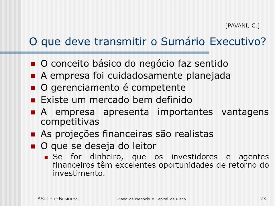 ASIT - e-Business Plano de Negócio e Capital de Risco 23 O que deve transmitir o Sumário Executivo? O conceito básico do negócio faz sentido A empresa