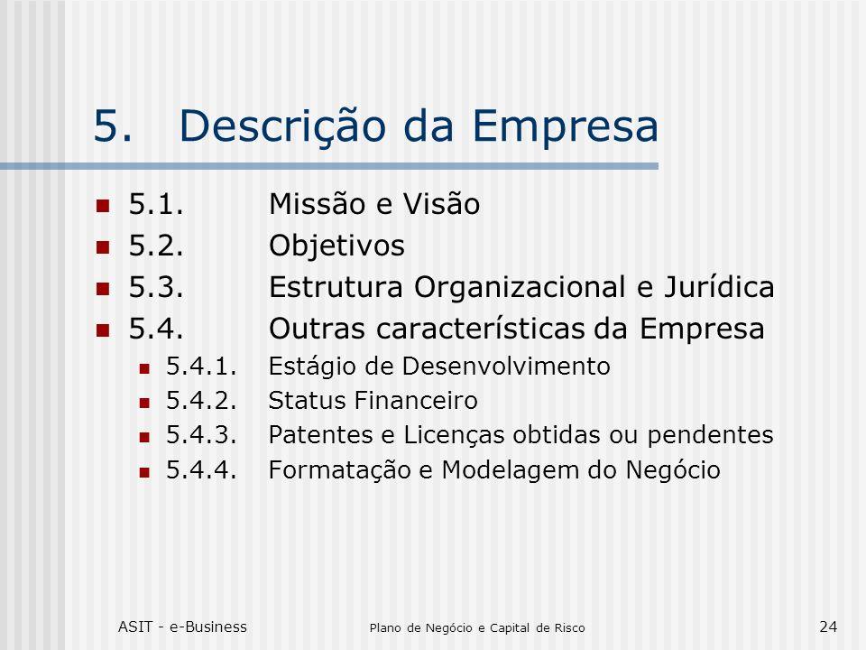 ASIT - e-Business Plano de Negócio e Capital de Risco 24 5.Descrição da Empresa 5.1.Missão e Visão 5.2.Objetivos 5.3.Estrutura Organizacional e Jurídi