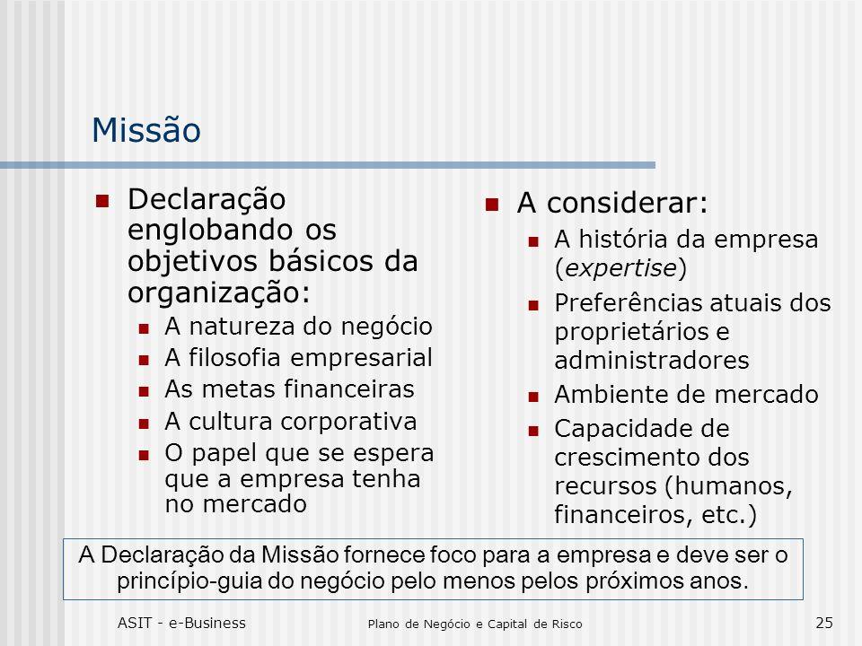 ASIT - e-Business Plano de Negócio e Capital de Risco 25 Missão Declaração englobando os objetivos básicos da organização: A natureza do negócio A fil