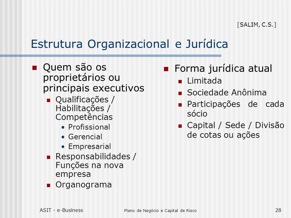 ASIT - e-Business Plano de Negócio e Capital de Risco 28 Estrutura Organizacional e Jurídica Quem são os proprietários ou principais executivos Qualif