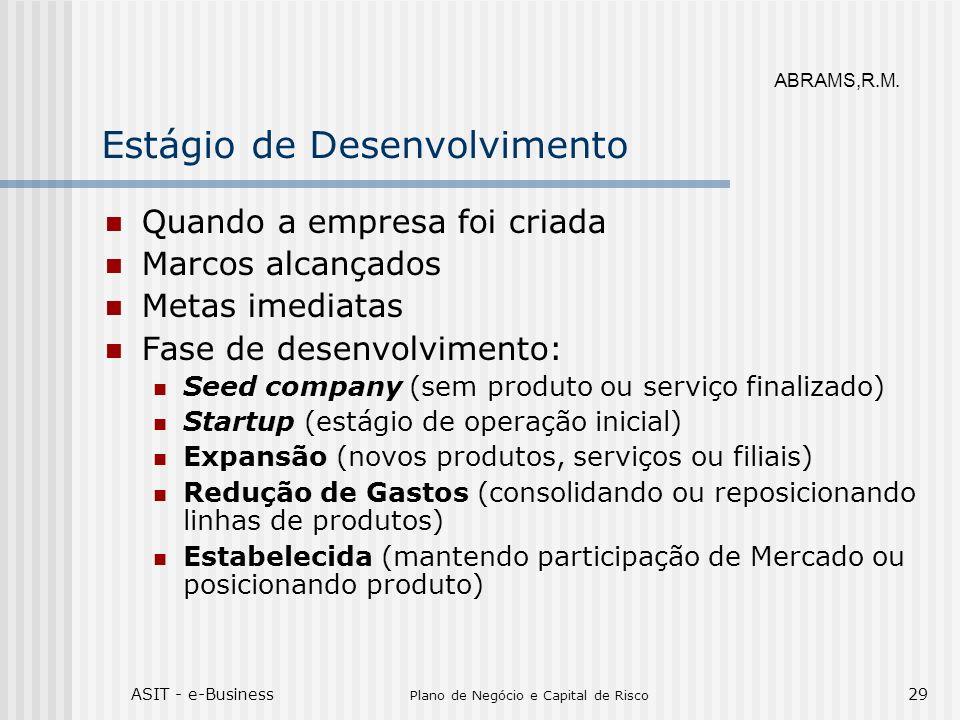 ASIT - e-Business Plano de Negócio e Capital de Risco 29 Estágio de Desenvolvimento Quando a empresa foi criada Marcos alcançados Metas imediatas Fase